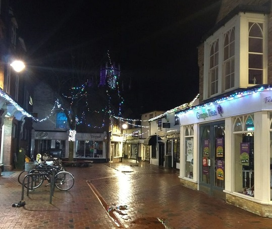 Ely Passage Shops With Christmas Lights
