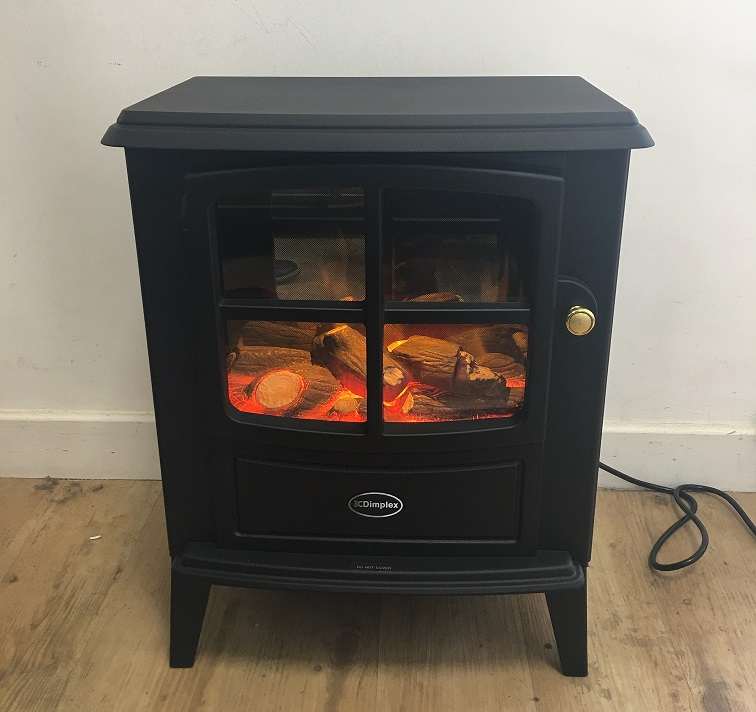 log effect free-standing stove